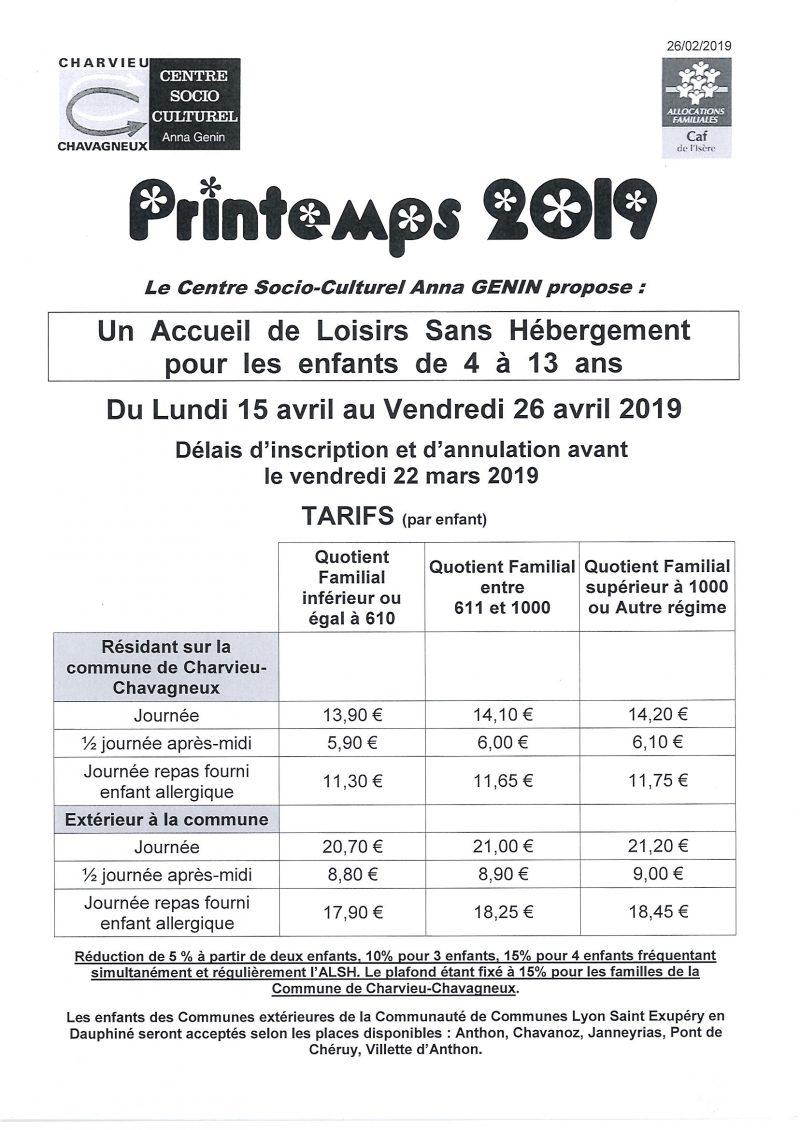 Accueil de loisirs - Printemps 2019