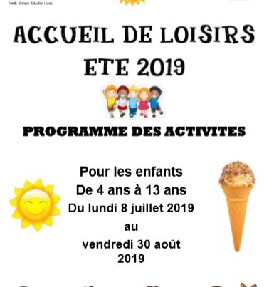Eté 2019 : programme et inscription pour les activités du Centre de Loisirs
