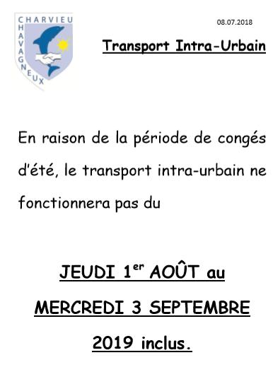 Congés d'été pour le Transport intra-urbain du 1er août au 3 septembre 2019