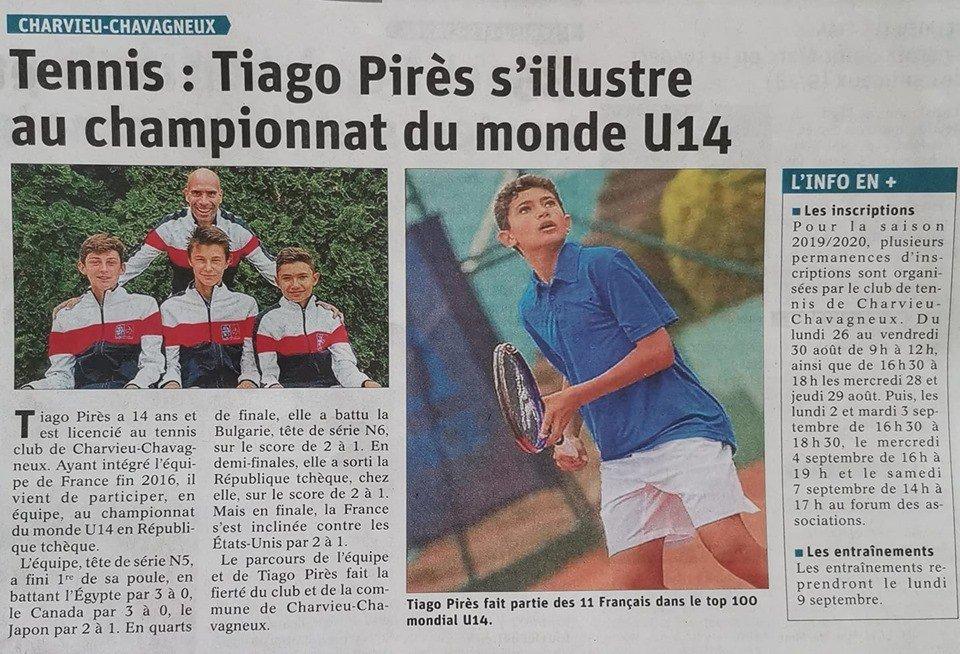 Bravo à Tiago Pirès notre jeune tennisman Charvieuland qui s'est illustré au Championnat du Monde U14