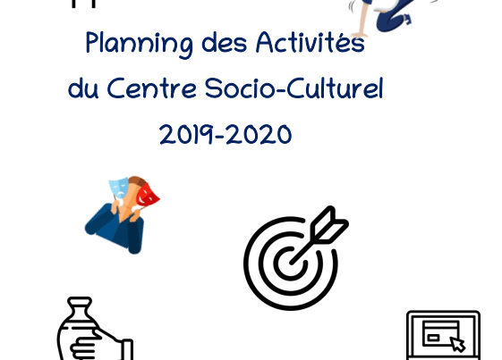Découvrez le planning des activités du Centre Socio-Culturel pour l'année 2019-2020