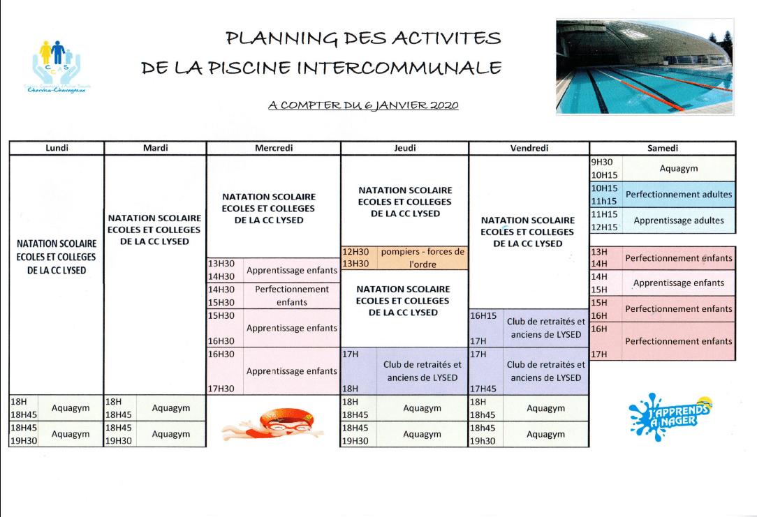 Piscine intercommunale de Charvieu-Chavagneux : Inscriptions, Tarifs et Planning des activités