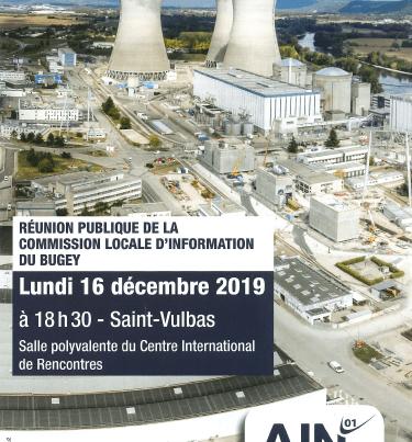 Réunion publique de la Commission Locale d'Information du Bugey le 16 décembre 2019