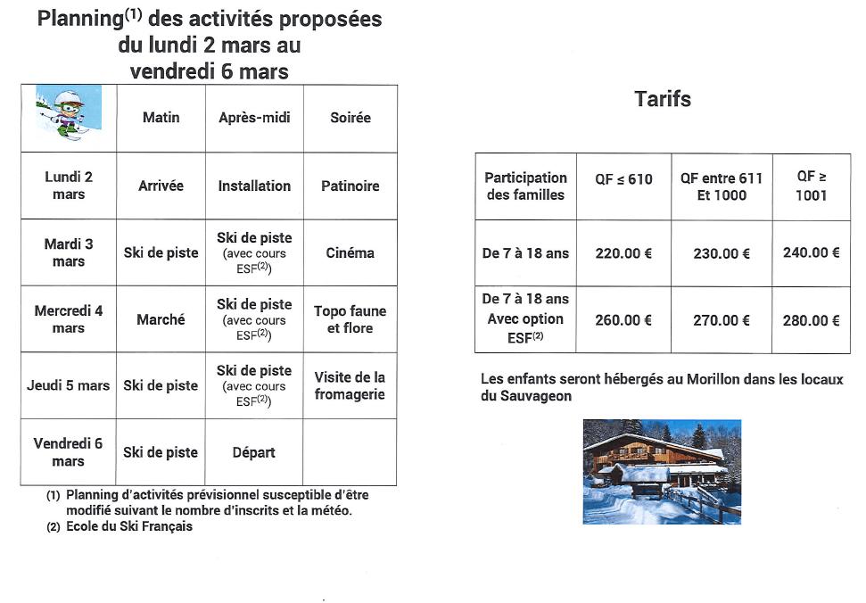 Séjour de ski : Inscriptions, tarifs et planning
