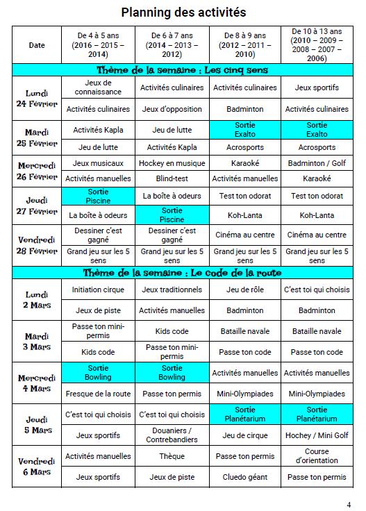 Accueil de loisirs Hiver 2020 : Programme des activités