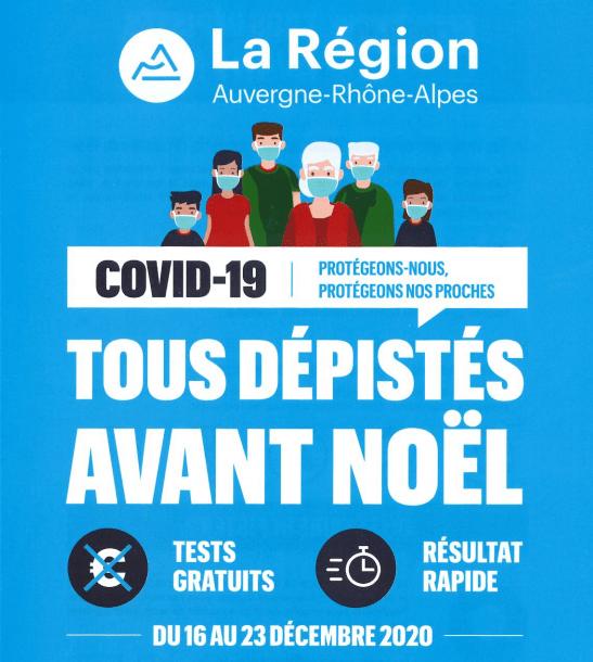 DÉPISTAGE GRATUIT CONTRE LE COVID-19 À PONT-DE-CHÉRUY LES 18, 19 ET 20 DÉCEMBRE