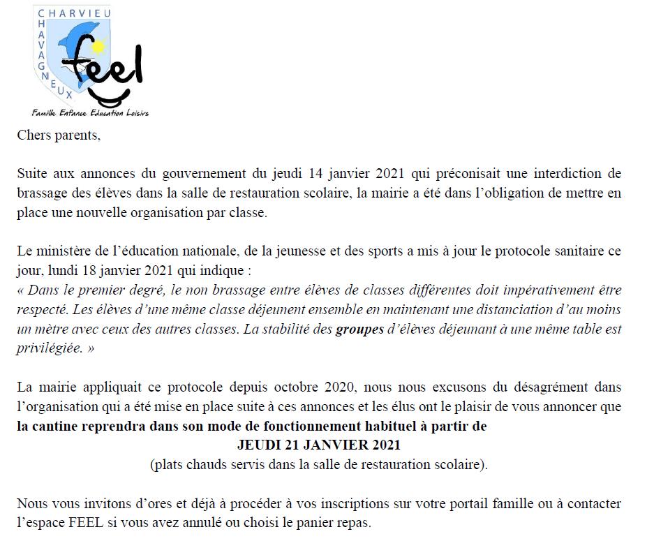 La cantine scolaire reprendre son mode de fonctionnement habituel à partir de jeudi 21 janvier 2021